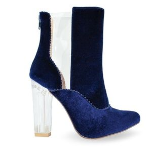 NEW CLASSY CHUNKY CLEAR HEEL VELVET BOOTS BLUE